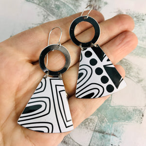 Black and White Doodles Small Fans Tin Earrings