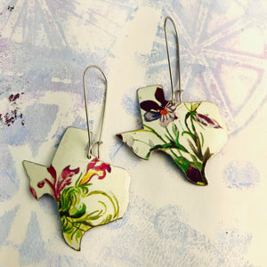 Purple Wildflowers on White Texas Upcycled Tin Earrings