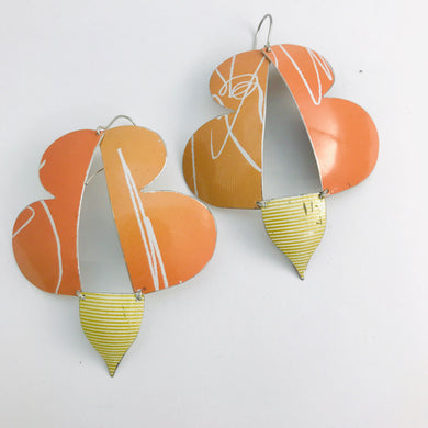 Abstract Orange Butterflies Zero Waste Tin Earrings