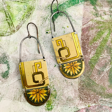 Blossom & Gold Upcycled Teardrop Tin Earrings