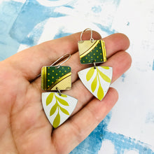 Load image into Gallery viewer, Green Polka Dot Squares & White Tourmaline Tin Earrings