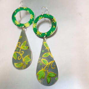 Vintage Blues & Greens Long Tin Teardrops Earrings