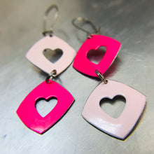 Load image into Gallery viewer, Duo Pinks Cutout Hearts Tiny Tin Earrings