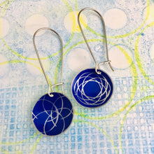 Load image into Gallery viewer, Cobalt Spirograph Medium Basin Upcycled Tin Earrings
