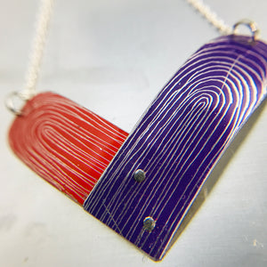 RESERVED Scarlet and Royal Purple Etched Tin Heart Recycled Necklace