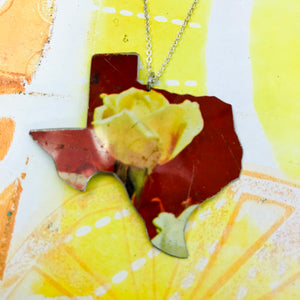 Yellow Rose of Texas Upcycled Tin Necklace