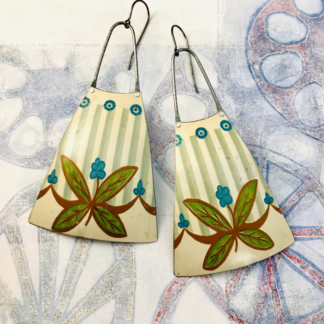Teal Dots & Leaves Upcycled Tin Long Fans Earrings