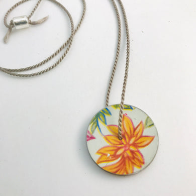 Vintage Pink & Orange Flowers Circle Upcycled Tin Flip-Flop Necklace