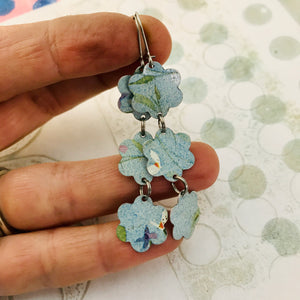 Faded Denim Flowers Upcycled Rectangles Tin Earrings