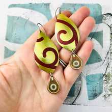 Load image into Gallery viewer, Maroon Spiral in Gold Upcycled Long Pod Tin Earrings