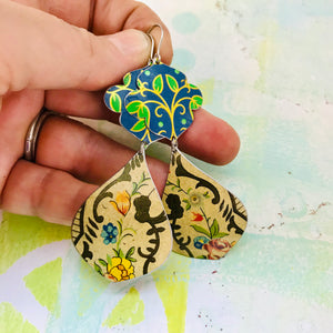 Vintage Blue Flowers Wide Cream Teardrops Zero Waste Tin Earrings
