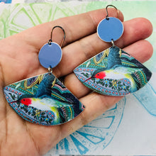 Load image into Gallery viewer, Ruby Throated Hummingbirds Upcycled Tin Earrings