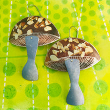 Load image into Gallery viewer, Groovy Chocolate Bark Mushrooms Zero Waste Tin Earrings