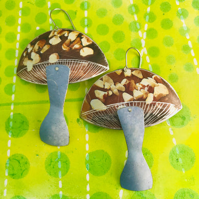 Groovy Chocolate Bark Mushrooms Zero Waste Tin Earrings