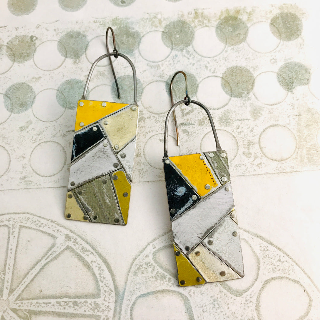 Mixed Neutrals Tesserae Arched Wire Tin Earrings