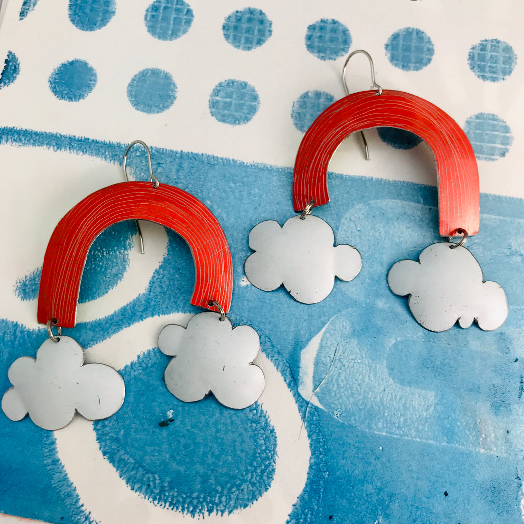 Coral Etched Clouds Upcycled Tin Earrings