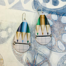 Load image into Gallery viewer, Colored Pencils & Graph Paper Teardrops Zero Waste Tin Earrings