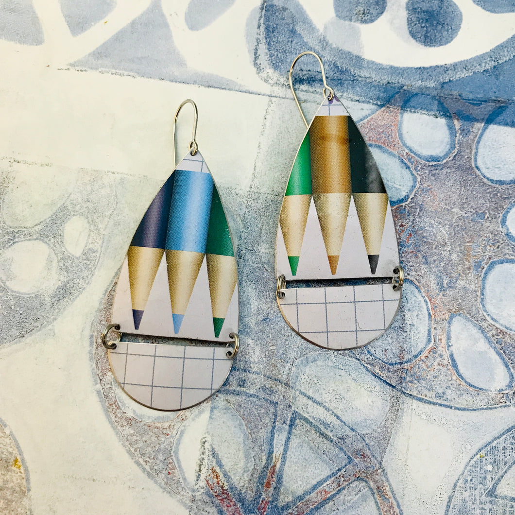Colored Pencils & Graph Paper Teardrops Zero Waste Tin Earrings