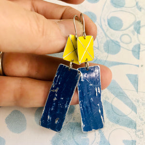 Bright Yellow & Ocean Blue Recycled Tin Earrings