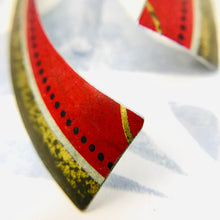 Load image into Gallery viewer, Vintage Scarlet Rounded Edge Recycled Tin Earrings