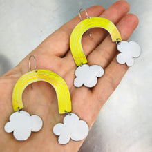Load image into Gallery viewer, Bright Yellow Etched Rainbows with Puffy Clouds Upcycled Tin Earrings