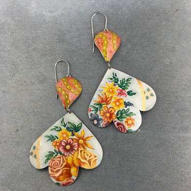 Floral Bouquet and Pinks Trefoil Upcyled Tin Earrings