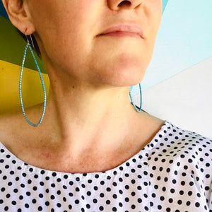 Spiraled Tin Big Frosted Cream Teardrop Earrings