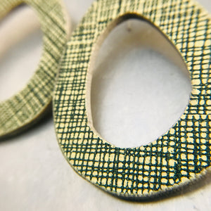 Green Crosshatch Mod Ovals Upcycled Book Cover Earrings