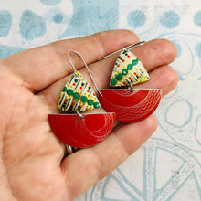 Load image into Gallery viewer, Red Spirograph and Vintage Dots Little Sailboats Tin Earrings