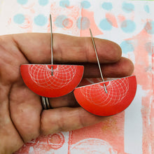 Load image into Gallery viewer, Bright Red Semi-circle Spirograph Upcycled Tin Earrings