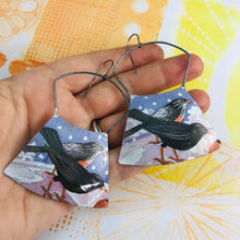 Load image into Gallery viewer, Watercolor Black Birds Large Zero Waste Tin Earrings