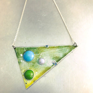 "Three Tin ""Stones"" Set in Scuffed Green Triangle Tin Recycled Necklace"