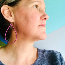 Load image into Gallery viewer, Spiraled Shimmery Pink Tin Big Teardrop Earrings