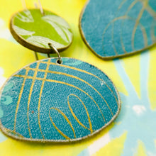 Load image into Gallery viewer, Book Pebbles Mixed Blues & Greens Recycled Book Cover Earrings