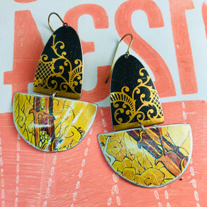 Black and Golds Upcycled Tin Boat Earrings