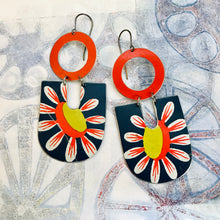 Load image into Gallery viewer, Big Daisy in Blue Chunky Horseshoes Zero Waste Tin Earrings