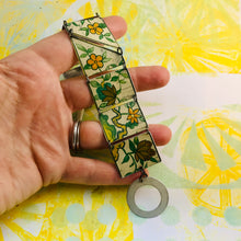 Load image into Gallery viewer, Vintage Gold & Orange Flowers Upcycled Tin Bracelet