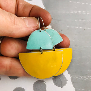 Matte Aqua and Butter Upcycled Tin Boat Earrings