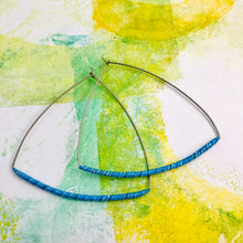 Load image into Gallery viewer, Blue Spiraled Tin Triangle Hoop Earrings
