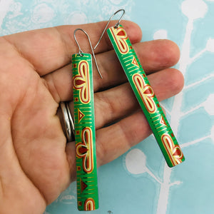Bright Green Vintage Edge Narrow Rectangle Tin Earrings