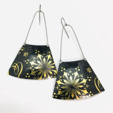Load image into Gallery viewer, Golden Starburst on Midnight Recycled Tin Earrings