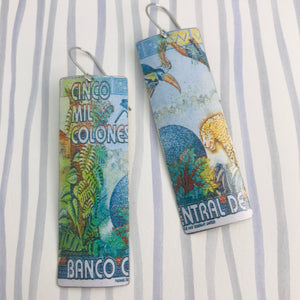 Costa Rica Cinco Mil Colones Rectangle Upcycled Tin Earrings
