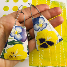 Load image into Gallery viewer, Purple & Yellow Violets Zero Waste Tin Long Fans Earrings