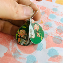 Load image into Gallery viewer, Pink Flowers on Green Upcycled Teardrop Tin Earrings