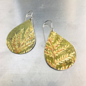 Fall Leaves Upcycled Teardrop Tin Earrings