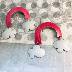 Deep Pink Etched Rainbows with Puffy Clouds Upcycled Tin Earrings