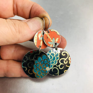 Vintage Mixed Circles Upcycled Tin Earrings