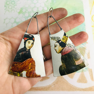 Tang Dynasty Upcycled Tin Long Fans Earrings