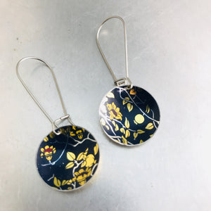 Pomegranate Blossoms On Deep Purple Small Basin Zero Waste Tin Earrings