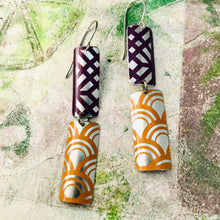Load image into Gallery viewer, Orange & Plum Mixed Pattern Recycled Tin Earrings